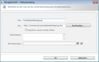 Dialogfeld 'Navigationslink'