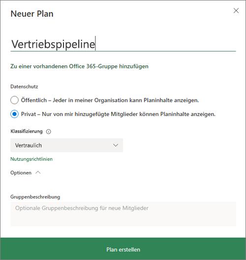 """Screenshot des Dialogfelds """"Neuer Plan"""""""