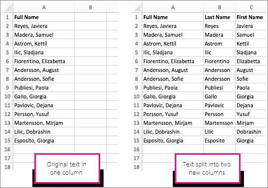 Text vor und nach dem Aufteilen in verschiedene Spalten