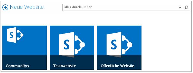 Beispiel der Seite 'Websites' mit 3 höhergestuften Websites