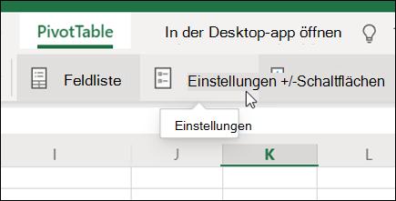 """Die Schaltfläche """"Einstellungen"""" auf der Registerkarte """"PivotTable"""" in Excel im Web"""