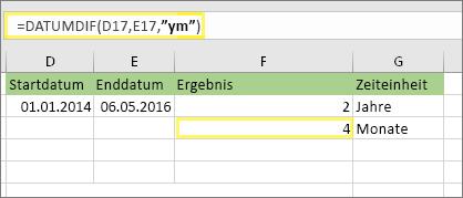 """= DATEDIF (D17; E17; """"YM"""") und Ergebnis: 4"""