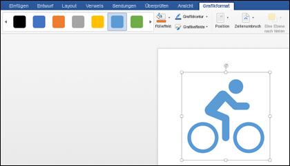 Der Formatvorlagenkatalog mit einem hellblauen Stil, der auf eine Grafik eines Fahrrads angewendet wird