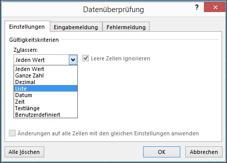 """Registerkarte """"Einstellungen"""" im Dialogfeld """"Datenüberprüfung"""""""