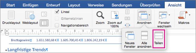 """Klicken Sie auf """"Teilen"""", um das Word-Fenster in zwei Ansichten desselben Dokuments zu unterteilen."""