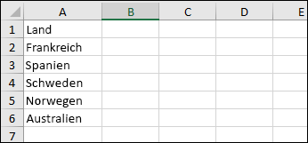 """Liste mit Ländern, die in den Datentyp """"Geographie"""" konvertiert werden sollen"""