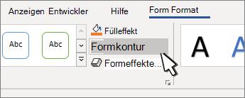 Schaltfläche 'Formkontur'
