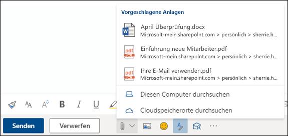 Anfügen von Dateien mit vorgeschlagenen Anlagen