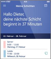 Beispiel für den Arbeitszeitplan in der mobilen StaffHub-App