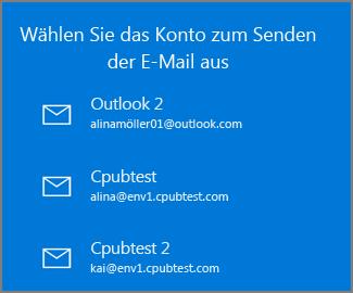 Das Konto auswählen, von dem aus eine E-Mail gesendet werden soll