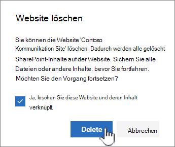 Wenn Sie sicher sind, dass Sie die Website löschen möchten, klicken Sie auf Löschen.