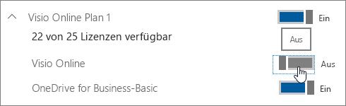 Umschaltfläche zum Zuweisen oder Entfernen einer Lizenz für Visio Online