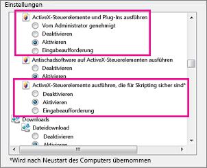 Zulassen, dass ActiveX-Steuerelemente in Internet Explorer geladen und ausgeführt werden