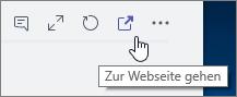 "Screenshot des Menüs ""Teamkanal"", Symbol ""Zur Website"""