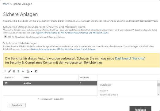 Aktivieren von Advanced Threat Protection für SharePoint Online, OneDrive for Business und Microsoft Teams