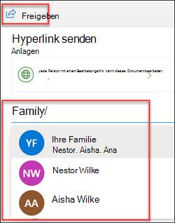 OneDrive-Freigabefenster