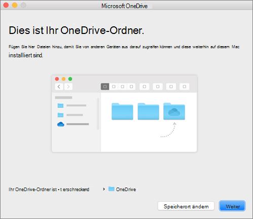 """Screenshot der Seite """"Dies ist Ihr OneDrive-Ordner"""" im Assistenten """"Willkommen bei OneDrive"""" auf einem Mac"""