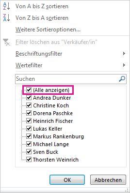Kontrollkästchen 'Alle anzeigen' im Filterkatalog