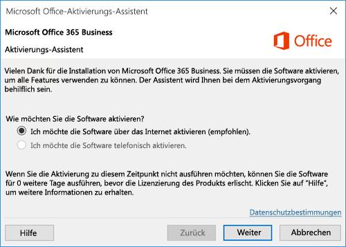 Zeigt den Aktivierungs-Assistenten für Office 365 Business an
