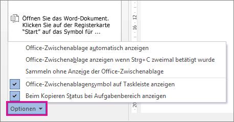 Die Zwischenablage-Optionen in Word2013