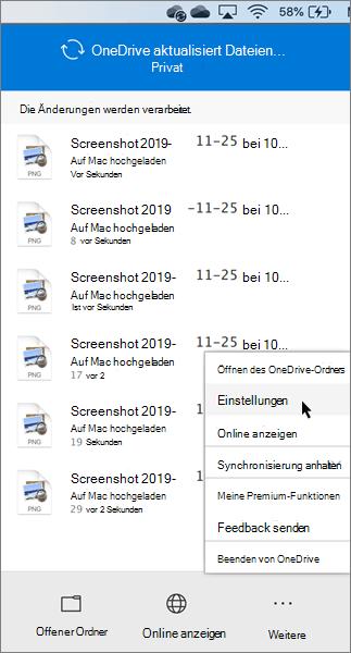 Screenshot der Festlegung der persönlichen OneDrive-Einstellungen