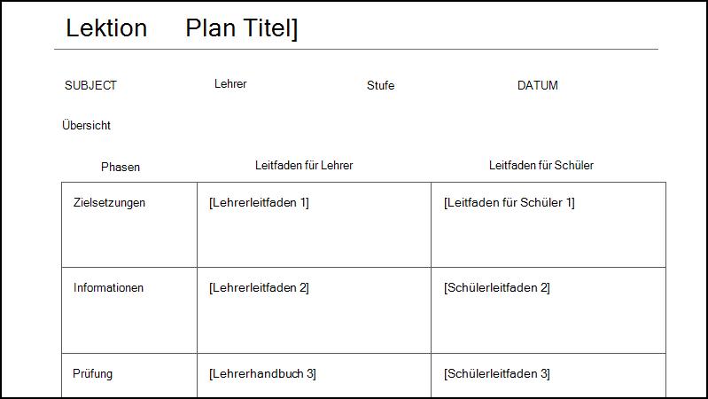 Screenshot einer Vorlage für einen Unterrichtsplan