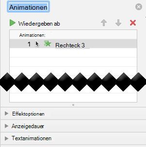 Der AnimationsBereich verfügt über Effektoptionen, Anzeigedauer Optionen und Texteffekt Optionen.