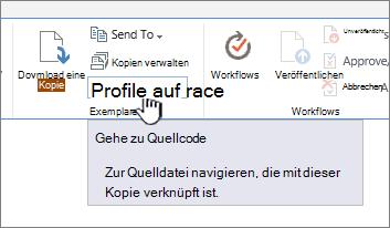 """Auf der Registerkarte """"Dateien"""" im Menüband zu Quelle wechseln"""