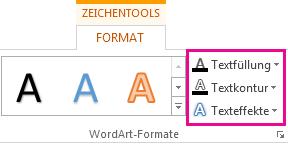 Gruppe 'WordArt-Formate' auf der Registerkarte 'Zeichentools > Format'
