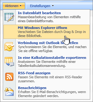 "Menüoption ""In Windows-Explorer öffnen"" unter ""Aktionen"""