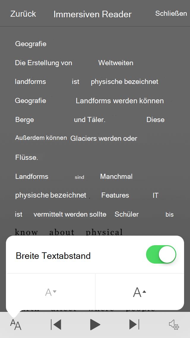 """Screenshot der Einstellung Office Lens Wide Text Spacing"""""""