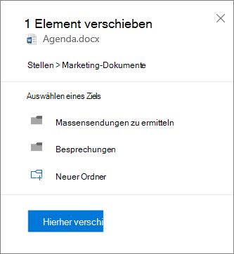 Screenshot zum Verschieben einer Datei aus OneDrive for Business auf eine SharePoint-Website