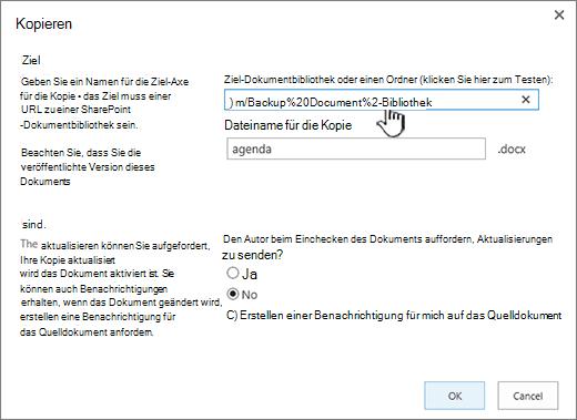"""Dialogfeld """"Kopieren"""" mit ausgewählter URL"""