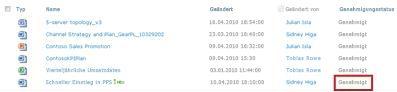 SharePoint-Bibliothek, nachdem sich der Status einer Datei von 'Ausstehend' in 'Genehmigt' geändert hat