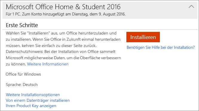 """Zeigt den Link """"Ihren Product Key anzeigen"""" für eine einmalige Office-Installation."""