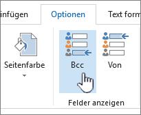 Suchen auf der Registerkarte Optionen der Schaltfläche ' Bcc '