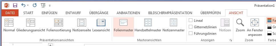 """Die Schaltfläche """"Folien Master"""" befindet sich auf der Registerkarte """"Ansicht"""" im Menüband."""