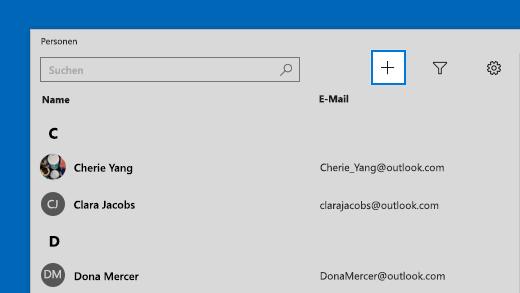 Hinzufügen des Kontakts in der Kontakte-App