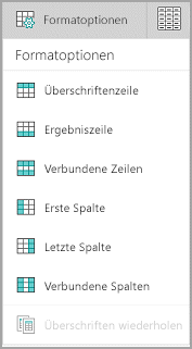Windows Mobile: Tabellenformatoptionen