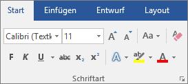 """Wählen Sie in Word auf der Registerkarte """"Start"""" in der Gruppe """"Schriftart"""" eine Schriftart und einen Schriftgrad aus."""