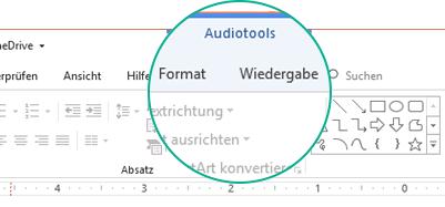 """Wenn ein Audioclip auf einer Folie ausgewählt ist, wird im Menüband der Abschnitt """"Audiotools"""" angezeigt, der zwei Registerkarten enthält: """"Format"""" und """"Wiedergabe""""."""