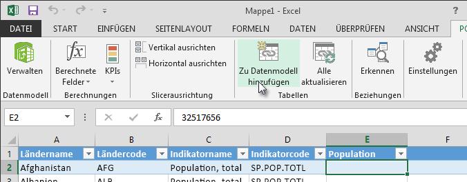 Neue Daten zum Datenmodell hinzufügen