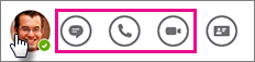 """Leiste """"Schnelle Aktionen"""" mit den hervorgehobenen Symbolen """"Chat"""" und """"Anrufen"""""""