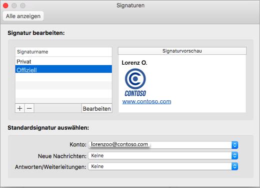 """Outlook-Seite """"Einstellungen > Signaturen""""."""