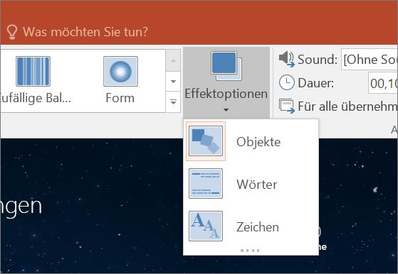 """Zeigt Übergangseffektoptionen für den Übergang """"Morphen"""" in PowerPoint 2016."""
