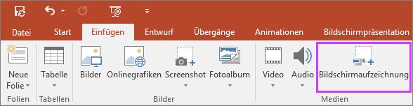 """Zeigt die Schaltfläche """"Bildschirmaufzeichnung einfügen"""" in PowerPoint 2016."""