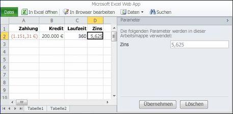 Verwenden eines Parameters im Browser