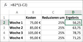 Beispiel zum Verringern eines Betrags um einen Prozentsatz