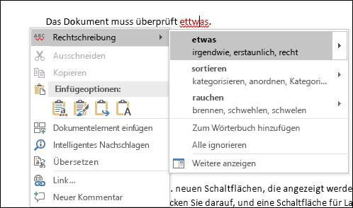 Der Editor verwendet Intelligente Dienste, um Rechtschreib- und Kontextkorrekturen zu empfehlen.