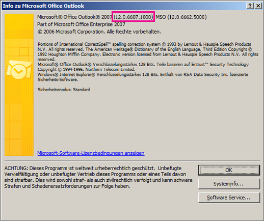 "Screenshot, der zeigt, wo die Outlook 2007-Versionsnummer im Dialogfeld ""Info zu Microsoft Office Outlook"" steht"